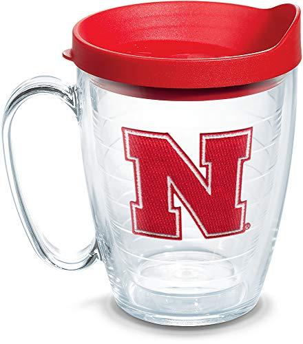 Tervis 1084204 Nebraska Cornhuskers Logo Tumbler with Emblem and Red Lid 16oz Mug, Clear