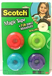 Scotch Magic Tape Donut Dispenser, 3/4 x 300 Inches (155) (4 Pack)
