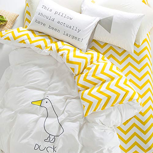 Trasign Twin Duvet Cover Set Kids Cotton Duvet Comforter Cover Striped with Cartoon Duck Printed for Boys Girls, Zipper Closure,  2 Pillowcases (Duck, Twin)