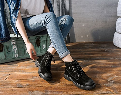 b5d9874fd10a ... uBeauty Damen Leder Stiefel Chelsea Boots Flache Boots Klassischer  Stiefeletten Schnüren Freizeitschuhe Schwarz