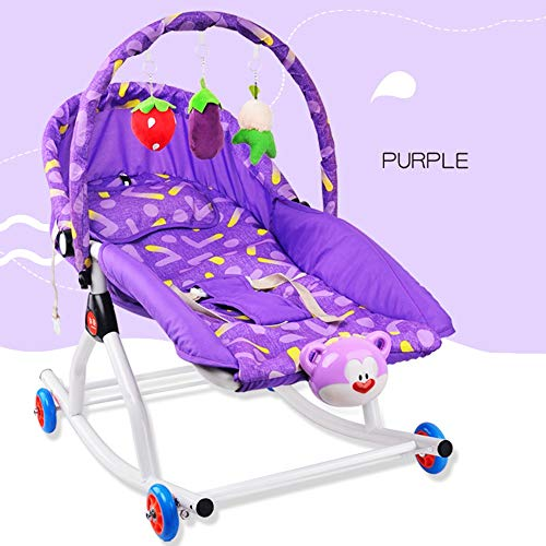 XIGUAN Baby Rocking Chair, Newborn Cradle Bed with Music Box and Hanging Toy Child Comforter, Suitable for Toddlers Up to 3 Years (Color : Purple, Size : B)