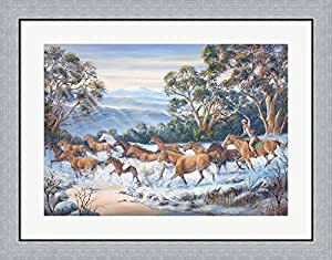 The Man From Snowy River by John Bradley Framed Art Print Wall Picture, Flat Silver Frame, 32 x 25 inches