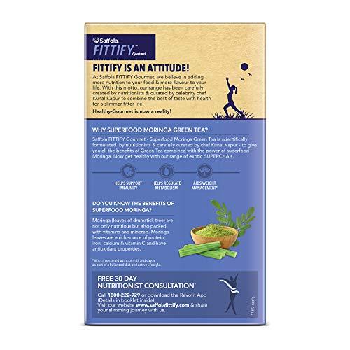 """Saffola FITTIFY Superfood Moringa Green Tea- Helps Supports Immunity (Combo)- Jasmine, Honey Lemon, 30 Tea Bags """