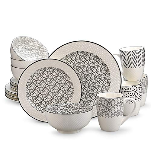 Dinnerware Sets,Durable Ceramic Dinner Plate Sets, Bowl sets,Mugs sets,Classic Pattern,Services for 4, 16 PCS