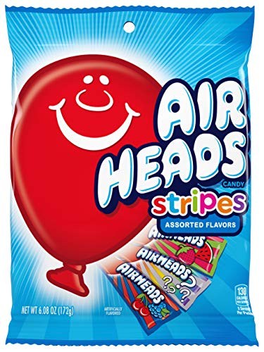 Airheads Candy Variety Bag, Individually Wrapped Assorted Striped Fruit Mini Bars, Party, Non Melting, 6.08 Ounce (Bulk Pack of 12)