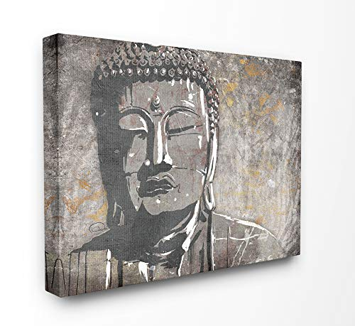 The Stupell Home Decor Distressed Surface Tan and Grey Buddha Mural Stretched Canvas Wall Art 30 x 40 Multi-Color (Grey Canvas Buddha)