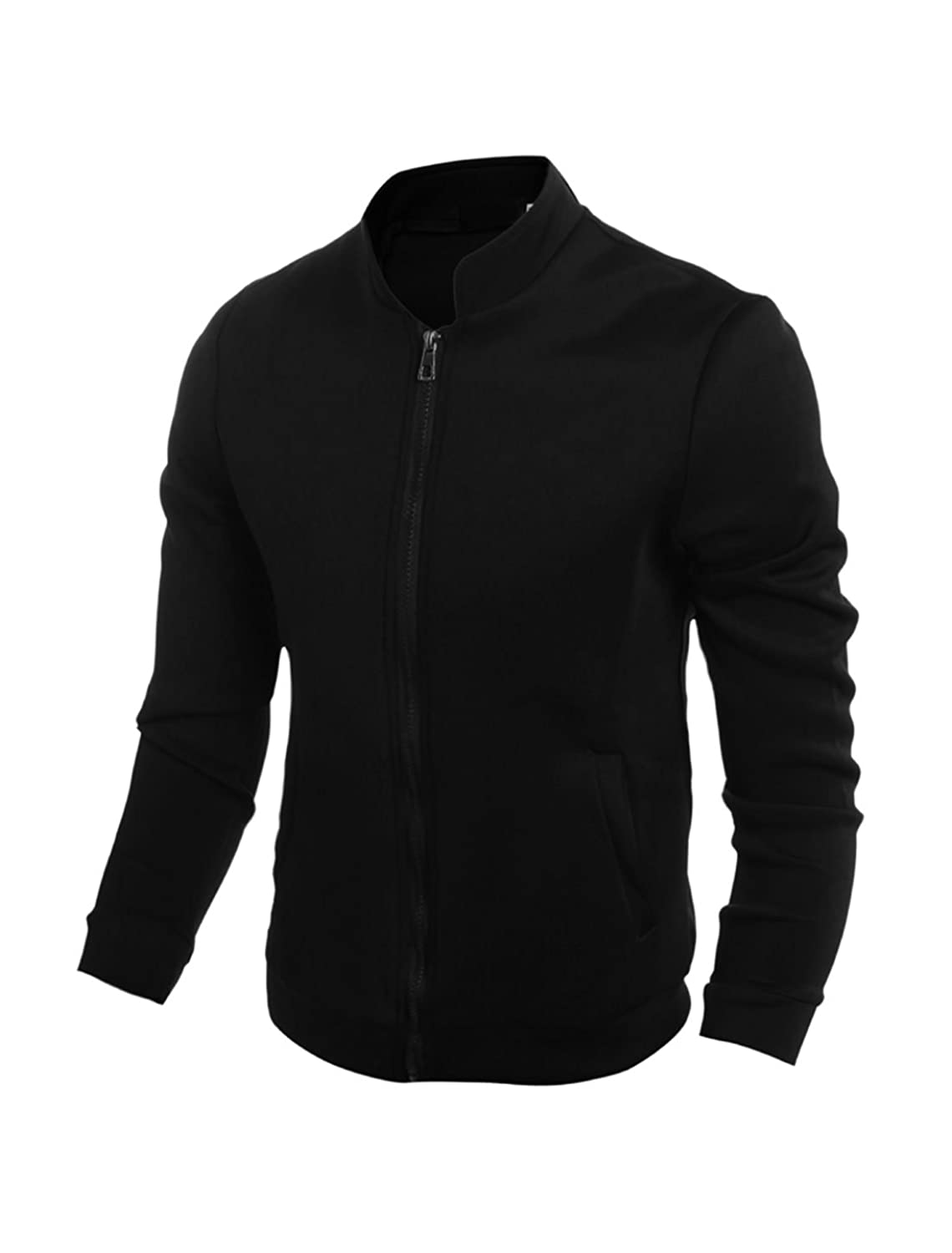sourcingmap? Men Long Sleeves Stand Collar Zip Closure Jacket