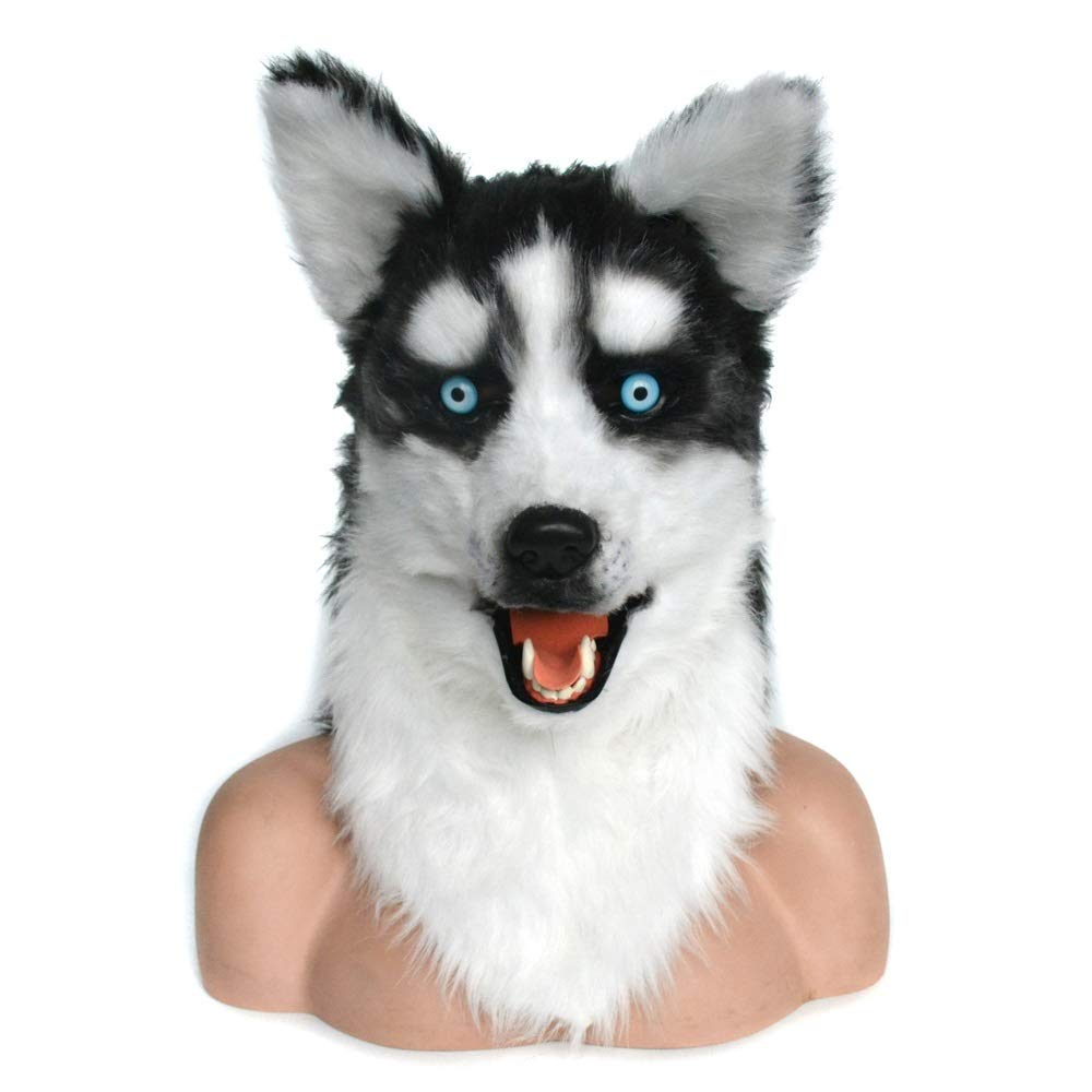 Meipa Time Realistic Handmade Huskie Dog Head Dog Headgear Customized Cosplay Moving Mouth Mask Husky Simulation Animal Mask (Color : Brown, Size : 2525)