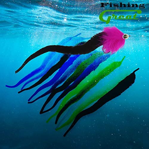 - Greatfishing 12pcs Mix Color Magnum Dragon Tail Pike Saltwater Fly Tying Material Streamer Steel Head Fly Tying Wiggle Tails