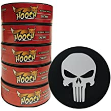 Hooch Herbal Snuff or Chew - 5 Can - Includes DC Skin Can Cover (Cherry Fine) (Punisher Skin)