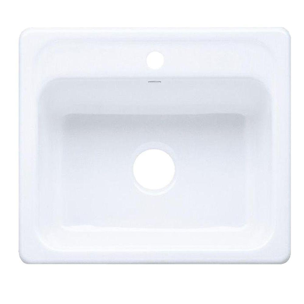Kohler K-5964-1-0 Mayfield Self-Rimming Kitchen Sink, White