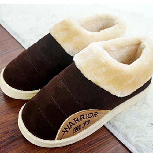 CWAIXXZZ pantofole morbide Inverno pacchetto coppie con uomini pantofole di cotone femmina impermeabili spessa pelle pu home scarpe indoor scarpe caldo per 43-44),76 ,44/45( Brown