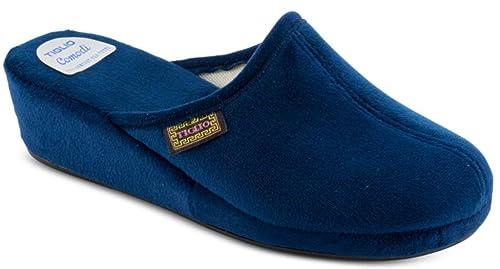 41547ada6d tiglio Pantofole Ciabatte Invernali da Donna Art. 700 Blu: Amazon.it ...