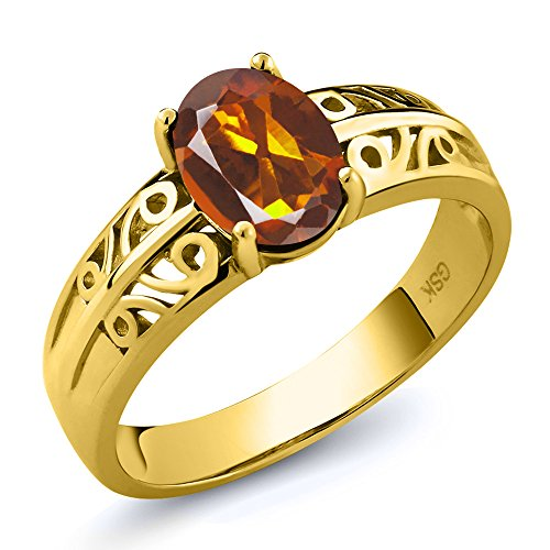Madeira Citrine Ring (1.10 Ct Oval Orange Red Madeira Citrine 18K Yellow Gold Plated Silver Ring)
