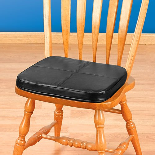 Bon Amazon.com: Kennedy Home Collections Faux Leather Tufted Chair Pad In  Black: Home U0026 Kitchen