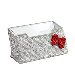 Rhinestones Stainless Steel Metal Business Card Holder (Red Bow)