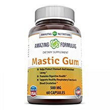 Amazing Nutrition Mastic Gum 500 Mg 60 Capsules - Supports Gastrointestinal and Oral Health - Natural and Safe for Occasional Stomach Relief