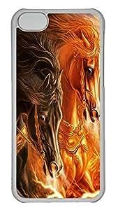 iPhone 5C Case 3D horse 2 PC iPhone 5C Case Cover Transparent