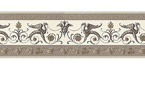 Griechische Bordü re Tapete aus Vinyl waschbar Effekt Stoff drucken Designer Relief glä nzend schlamm mit Glitter gold m7773 Mini Classic Murella