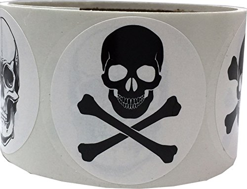 White Skull and Crossbones Circle Dot Stickers, 2 Inch Round, 100 Labels on a Roll -