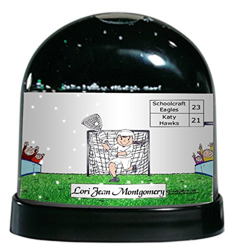 Personalized Friendly Folks Cartoon Caricature Snow Globe Gift: LaCrosse - Female Great for lacrosse player, tournament, team, (Lacrosse Trophy)