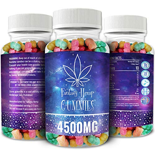 Fantasy Organic Hemp Gummies 4500MG -50MG Per Gummy Bear with Premium Herbal Extract | Natural Candy Supplements for Pain, Anxiety, Stress & Inflammation Relief | Promotes Sleep & Calm Mood