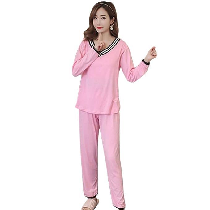 eb83aac7b BOZEVON Mujer Embarazada Pijama de Lactancia Invierno Ropa - Un Juego de  Camisas de Algodón con
