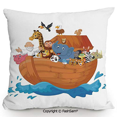 FashSam Decorative Throw Pillow Cover Noahs Ark Cartoon Style Mammals Smiling Transport in Only Ship Artwork Print for Pillow Cover for Living Room(24