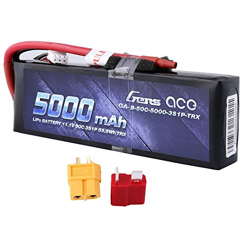Gens ace 5000mAh 11.1V 3S 50C 3 Cell LiPo Battery Pack with XT60 and Deans Plug (Updated) for Traxxas RC Cars Slash vxl Slash 4x4 vxl E-maxx Brushless Axial e-revo Brushless and Spartan Models