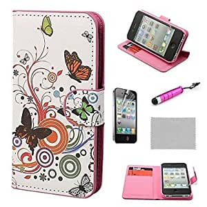 SHOUJIKE Colorful Butterflies Wallet PU Leather Hard Cases with Stand for iPhone 4S included Film and Stylus , Multicolor