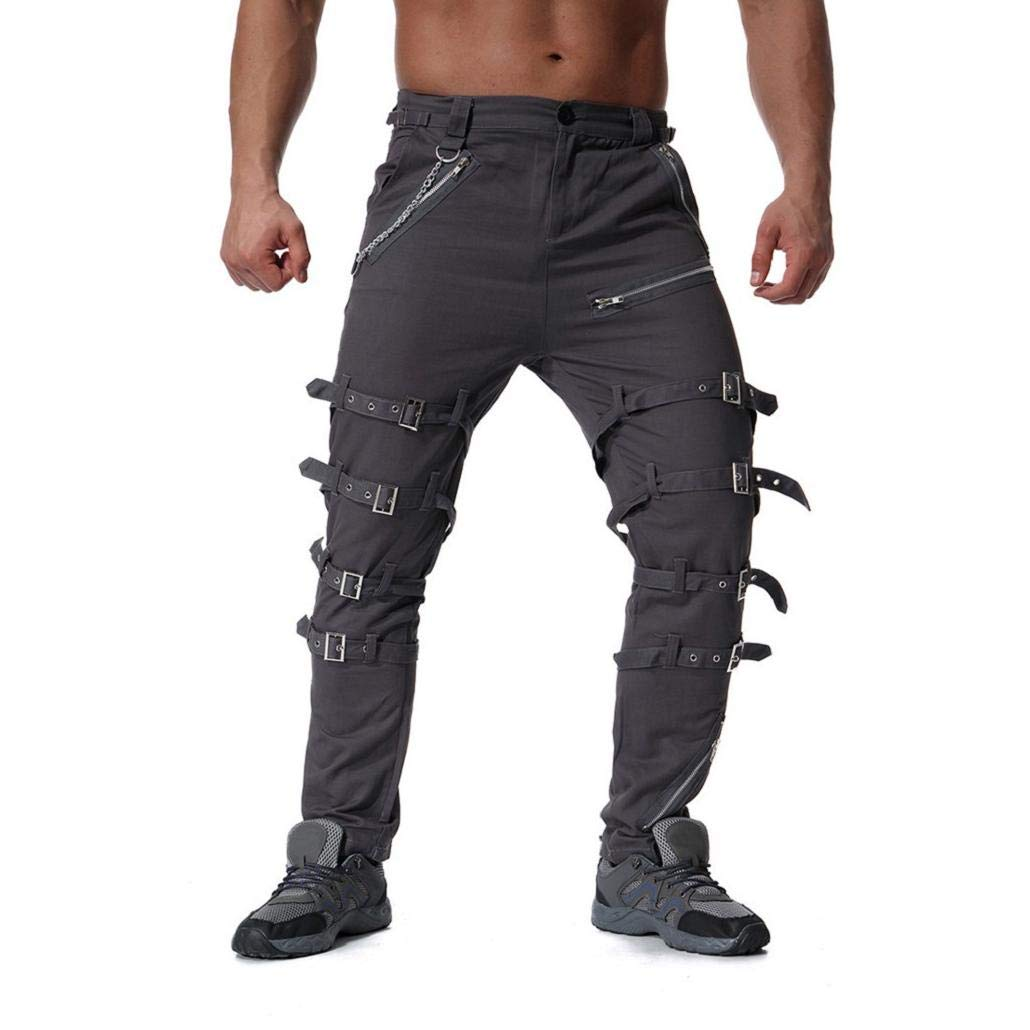 MISYAA Mens Pants Multi Buckles Gore-Trousers Solid Activewear Tights with Pockets Trousers for Men Masculinous Gifts