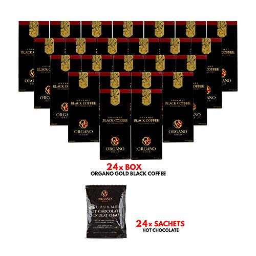 24 Boxes Organo Gold Black Coffee Low Caffeine (30 sachets/box) + FREE 24 sachets Organo Gold Hot Chocolate + Express Shipping ()