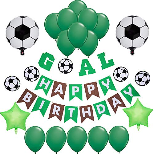Sports Themed Soccer Party Supplies and Decorations for Girls and Boys-1 Happy Birthday Banner, 2 Star 2 Soccer Foil Balloons, 16 Green Latex Balloons, Supplies and Favors for Girls Boys Kids 1st 2nd 3rd 4th Bday Decor]()