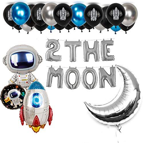 (2 the moon Boy Space Party Birthday Balloons 36Pcs UFO Solar System Outer Space Galaxy Astronaut Blast Off Rocket Airship Spaceship Silver Moon Black Blue Space Man Robot Party Balloon Happy Birthday Banner Decoration)