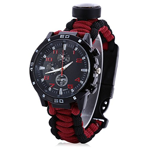 Wooboo Men Women Emergency Survival Watch with Paracord,Compass,Whistle,Fire Starter, Analog Watches, Survival Gear,Water Resistant,Adjustable (Black with Red)