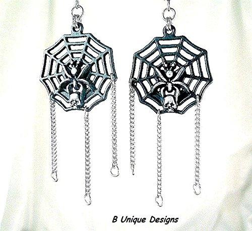 Enamel Spider Charm (Black & Silver Spider Web Witch Dangle Halloween Skull Rocker Earrings, Add Handmade Byzantine Stainless Steel Chain Mail)