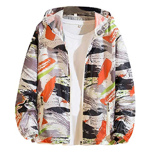JJLIKER Mens Womens Graphic Print Sun Protection Clothing Full Zip Front Long Sleeve Tops Hoodie Jacket Sunscreen Coat Orange