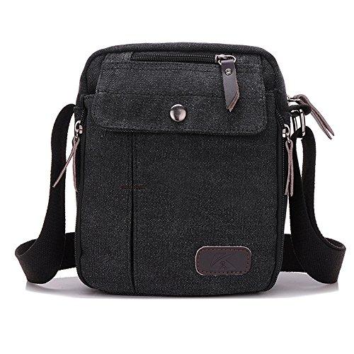 BYD - Man Unisex Mujeres Mini Bolsos bandolera Crossbody Canvas Bag Bolsos bandolera Mutil Pockets Design Negro