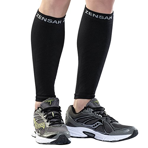 Zensah  Compression Leg Sleeves, Black, Small/Medium