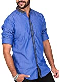 Rapphael Mens Casual Full Sleeve Chinese Collar Blue Color(3FA)