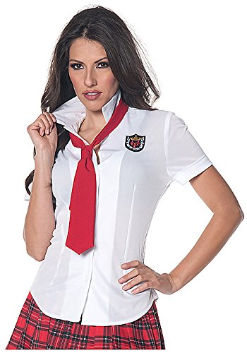 Underwraps Women's School Girl Fitted Shirt, White/Red, Medium