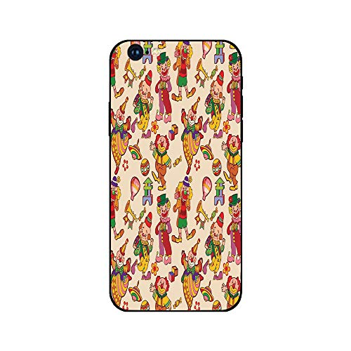 Phone Case Compatible with iphone6 iphone6s Mobile Phone Covers Phone Shell BrandNew Tempered Glass Backplane,Circus Decor,Cartoon Circus Patterns Comedian Musical Toy Pleasure Hot Air Balloon,Anti-s