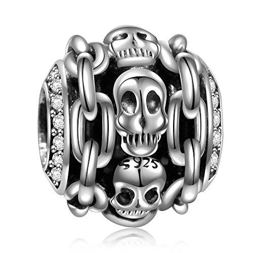 Angemiel 925 Sterling Silver Skull Halloween Skeleton Charms Fit European Snake Chain Bracelets