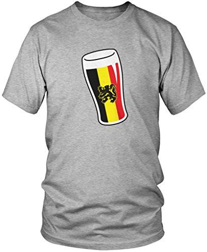 Belgium Flag Beer Glass, Belgian Flag Pint Glass Men's T-shirt, Amdesco, Athletic Heather Gray (Belgian Beer)