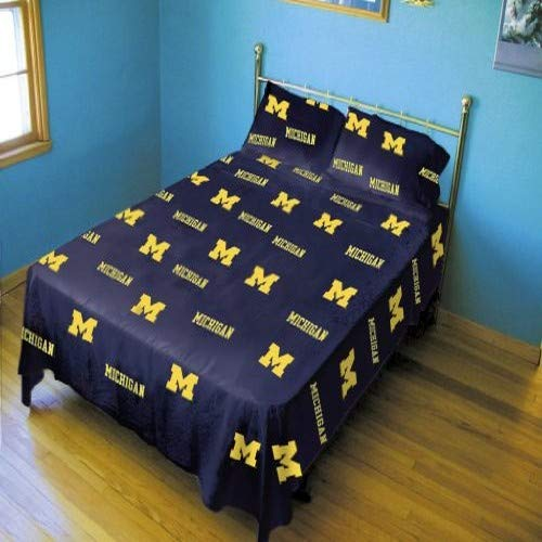 Queen Solid College Covers Michigan Wolverines Printed Sheet Set