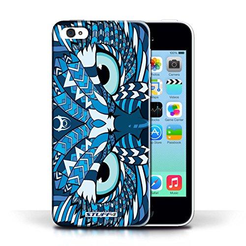 iCHOOSE Print Motif Coque de protection Case / Plastique manchon de telephone Coque pour Apple iPhone 5C / Collection Motif Animaux Aztec / Hibou-Bleu