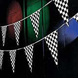 Tytroy 100 ft Racing Pennant Flag Banners Black White Checkered Nascar Race Car Party Decor