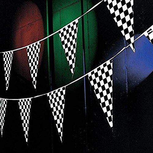 Tytroy 100 ft Racing Pennant Flag Banners Black White Checkered Nascar Race Car Party Decor (Race Car Flag)