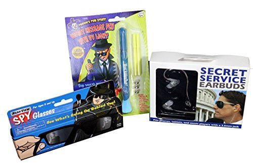 Kids Top Secret Spy Kit - Starter Edition - 3 Pieces Includes Rear-View Vision Glasses, Secret Service Ear Pieces and Secret Message UV Pen by Prank Nation (Secret Agent Spy Kit)