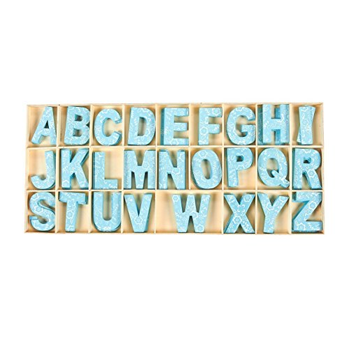 104 Piece Set Wooden Letters - Wooden Craft Letters with Storage Tray - Wooden Alphabet Letters, Blue ()